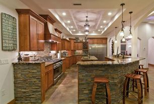 Kitchen with Arizona Tile Aurora Borealis Granite, Roterra Stone Siding - Quartzite Finished Slate Collection