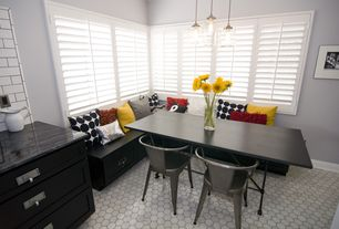 Contemporary Dining Room with One-wall, Pottery Barn Paxton Glass 3-Light Pendant, Shutters, Plantation shutters, Window seat
