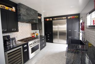 Contemporary Kitchen with dishwasher, Custom hood, Manhattan white matte subway tile, Dark grout, gas range, Undermount sink
