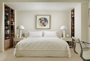 Contemporary Master Bedroom with Built-in bookshelf, Carpet, Standard height
