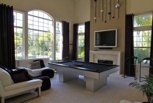 Contemporary Game Room with High ceiling, Rizzy Home Shag Cotton Decorative Throw Pillow, Cement fireplace, tv wall mount