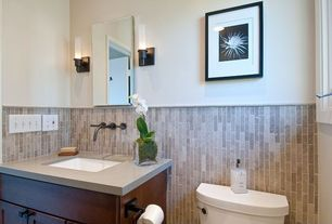 Traditional Powder Room with Powder room, Simple marble counters, George Kovacs Saber 1 Light Bath Vanity Light, Wall sconce