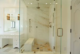 Traditional Master Bathroom with frameless showerdoor, Master bathroom, Wall sconce, Limestone counters, Inset cabinets
