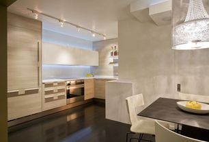 Contemporary Kitchen with Flush, Breakfast nook, Simple marble counters, European Cabinets, Stainless Steel, Pendant light