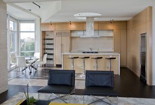 Contemporary Kitchen with L-shaped, Breakfast nook, Wine refrigerator, Large Ceramic Tile, Corian counters, European Cabinets
