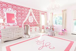 Traditional Kids Bedroom with interior wallpaper, Casement, Chandelier, Paint2, no bedroom feature, Crown molding, Carpet