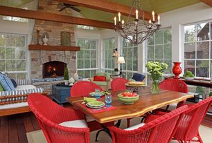 Cottage Great Room with Casbah chair - red, Hardwood floors, Rustic iron twig chandelier (discontinued), stone fireplace