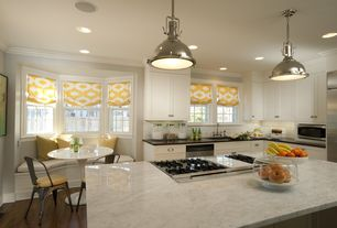 Contemporary Kitchen with Crown molding, Bay window, Quartz counters, Subway tile backsplash, Built-in window seat