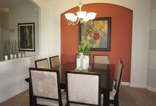 Contemporary Dining Room with Carpet, East West Capri Dining Table, Chandelier, Tms quebec parsons chair