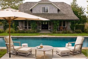 Cottage Swimming Pool with Casement, Fence, Lap pool, exterior tile floors, French doors, exterior concrete tile floors
