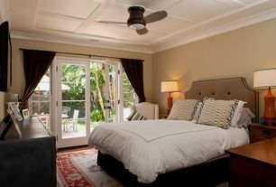 Cottage Master Bedroom with Carpet, French doors, Standard height, flush light, Ceiling fan, Crown molding, Box ceiling