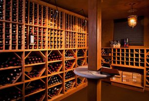 Traditional Wine Cellar with Columns, flush light, Concrete tile