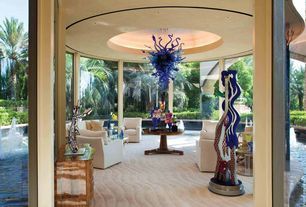 Contemporary Living Room with Carpet, Turner square arm upholstered swivel armchair, Electric blue chandelier 2000