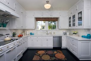 Traditional Kitchen with Custom hood, dishwasher, flush light, Flat panel cabinets, Framed Partial Panel, Standard height