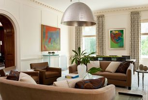 Contemporary Living Room with Crown molding, Chair rail, Carpet, flush light