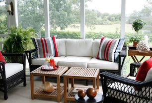Cottage Porch with Hampton sofa, Screened porch, Boston loft furnishings end table