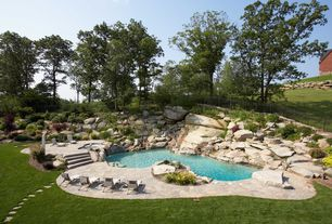 Rustic Swimming Pool with Fence, exterior stone floors, Pathway