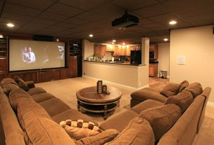 Contemporary Home Theater with BenQ W1070 Projector, L-shaped kitchen, Bradshaw Round Coffee Table, Box ceiling, Carpet