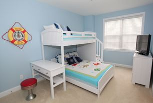 Cottage Kids Bedroom with Carpet, Venetian blinds, Paint, Crown molding, double-hung window
