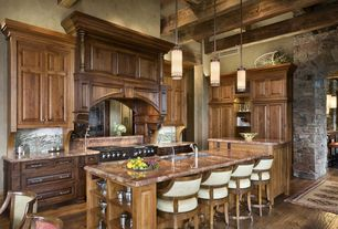 Rustic Kitchen with Pental african ivory polished granite, Roterra Stone Slate Collection, California Gold, High ceiling