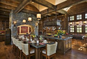 "Country Kitchen with 30"" Small Single Well Copper Farmhouse Sink, Eldorado Stone Mountain Edge, Glass panel, Exposed beam"