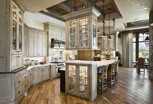 Country Kitchen with High ceiling, Flat panel cabinets, Glass panel, L-shaped, Framed Partial Panel, full backsplash, Paint 1