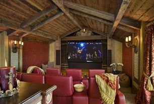 Country Home Theater with Exposed beam, Carpet, Wall sconce, Standard height