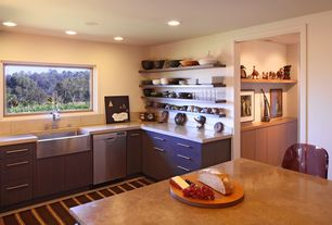 Contemporary Kitchen with Corian - Hickory Smoke, Stone Tile, L-shaped, Formica counters, Farmhouse sink, Corian counters