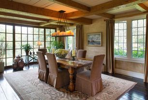 Traditional Dining Room with Restoration Hardware Hudson Camelback Slipcovered Armchair, Chandelier, Exposed beam