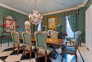 Traditional Dining Room with interior wallpaper, Chandelier, Diamond pattern flooring, Crown molding, simple marble floors
