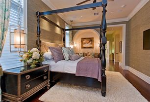 Contemporary Master Bedroom with Crown molding, Laminate floors, Ceiling fan, Standard height, interior wallpaper, Casement