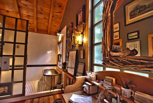 Eclectic Master Bathroom with Original 1850's copper claw foot bathtub, 4.25 x 4.25 high gloss ceramic tile, Driftwood mirror