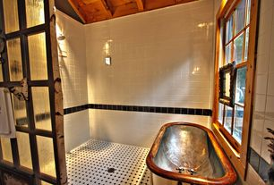 Country Master Bathroom with Merola Tile, Twenties White 7-3/4 in. x 7-3/4 in. Ceramic Floor and Wall Tile