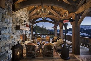 Country Porch with Amish rustic hickory lodge lounge chair, Lava heat venetian propane patio heater