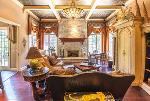 Traditional Living Room with Hardwood floors, Fireplace, Standard height, brick fireplace, Casement, Paint 1, Box ceiling