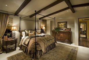 Mediterranean Master Bedroom with Dynamic rugs legacy, Exposed beams, Sylvania canopy bed, Wall-to-wall carpet