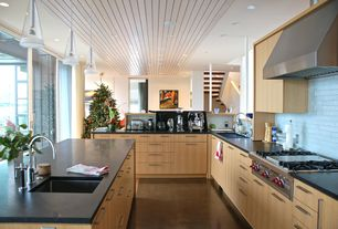 "Contemporary Kitchen with Wolf 48"" sealed burner rangetop, Gas range top, Pendant light, Quartz counters, Undermount sink"
