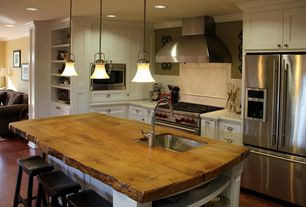 Country Kitchen with Kitchen island, Breakfast bar, Pendant light, Hickory Hardware Williamsburg 3 in. Cup Pull, One-wall