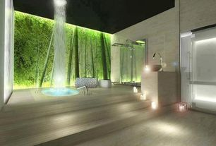 Contemporary Master Bathroom with specialty door, Landscape Wall Murals, Rain shower, Vessel sink, stone slab showerbath