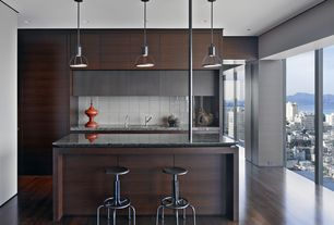 Modern Kitchen with Kitchen island, Breakfast bar, Oak - Kona 3 1/4 in. Solid Hardwood Plank, Pendant light, Flush, One-wall