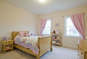 Country Kids Bedroom with no bedroom feature, Standard height, Bamboo floors, picture window, can lights