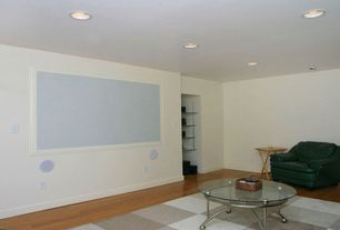 Modern Home Theater with Laminate floors, Carpet, can lights, Standard height