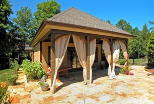 Cottage Patio with Casement, exterior stone floors, French doors, Fence