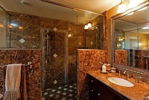 Traditional Master Bathroom with Complex marble counters, Handheld showerhead, Arizona Tile, Coliseum (Stained), Granite.