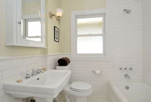 Traditional Master Bathroom with Wall mounted sink, Large Ceramic Tile, Livex lighting essex 1 light bath sconce, Rain shower