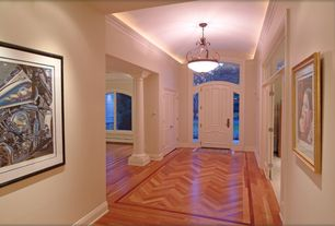 Traditional Entryway with flush light, Crown molding, Columns, Gold Leaf Wood Picture Frame H11677, six panel door, Paint 1
