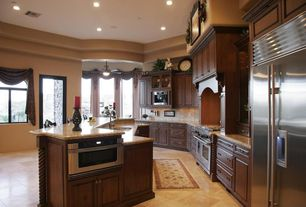 Traditional Kitchen with Casement, Paint 1, Tray ceiling, can lights, Stainless undermount 2-basin sink, Pendant light
