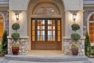 Traditional Front Door with Casement, Glass panel door, specialty window, Arched window, exterior stone floors