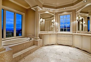 Traditional Master Bathroom with Raised panel, Columns, Frameless, Crown molding, Simple granite counters, Wall sconce