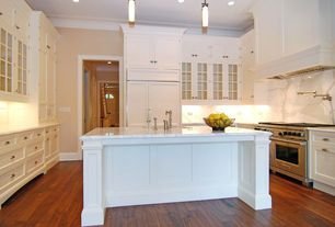 "Traditional Kitchen with Complex Marble, Flat panel cabinets, Flush, Casa de Colour  3/4"" x 3-5/8"" Golden Teak Acacia"